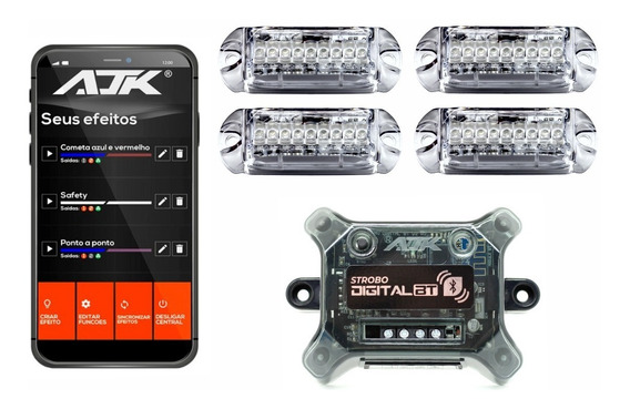 Kit Strobo Ajk Central Bt Bluetooth 4 Faróis Rgb Digital