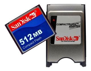 Kit 1 Adaptador Pcmcia Compact Flash +1 Cartão 512mb+leitor