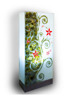 Lámpara De Mesa Buró Cristal Flores Verde Hecho A Mano