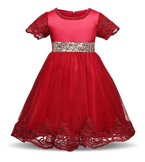 Elegante Vestido Rojo Tinto Y Dorado Cumpleaños Boda Fiesta