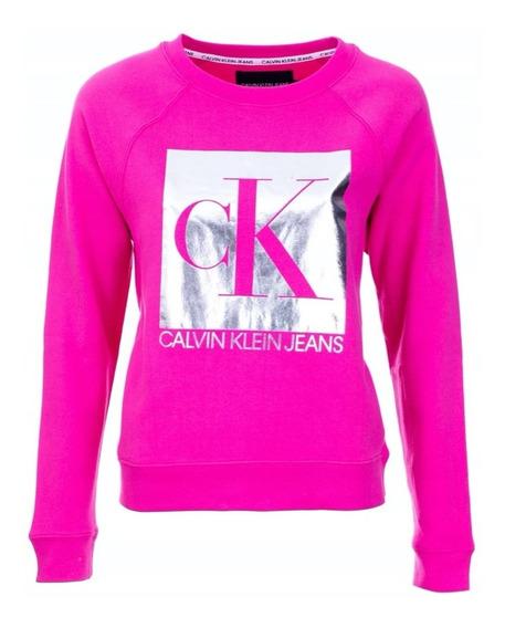 Buzo Calvin Klein Logo Neon Plateado Mujer