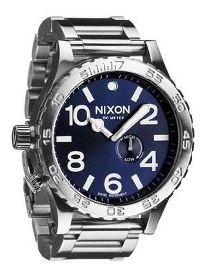 Relógio Gdm5454 Nixon A083-100 Prata Fundo Azul Com Caixa