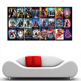 Placa Decorativa Heróis Marvel Painel Grande 120x60cm