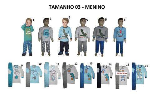 Imagem 1 de 2 de Pijama Infantil Masculino 100% Algodão Kit 10 Conjuntos