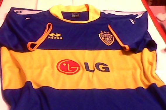 Boca Juniors Camiseta En Tela De Polyamida Talle L Manga Corta-hermoso Diseño- Medidas Amplias-excelente Estado!!!!