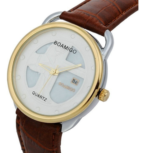 Relógio Luxo Boamigo Pulseira Couro Homens/mulheres Casual