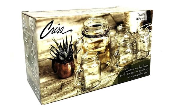Vasos Mezcaleros Jar Pack 5 Pz Oaxaca Destilados Caja