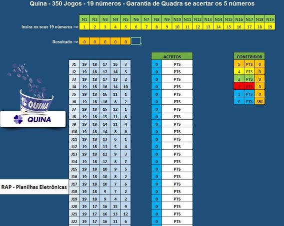Planilha Quina - 19 Números Em 350 Jogos - Ideal Para Bolões