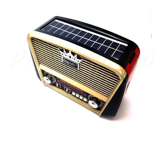Rádio Retrô Solar Ecopower Ep108 - Entrada Pendrive, Usb, Sd