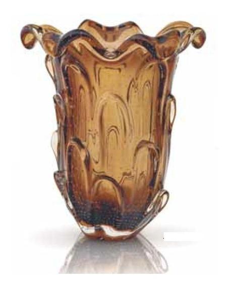 Vaso Cristal Murano Grande Marrom 37x32cm Sao Marcos 12x
