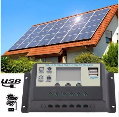 Controlador/carga De Painel Solar 10a - 12 V 24 V - Com Usb