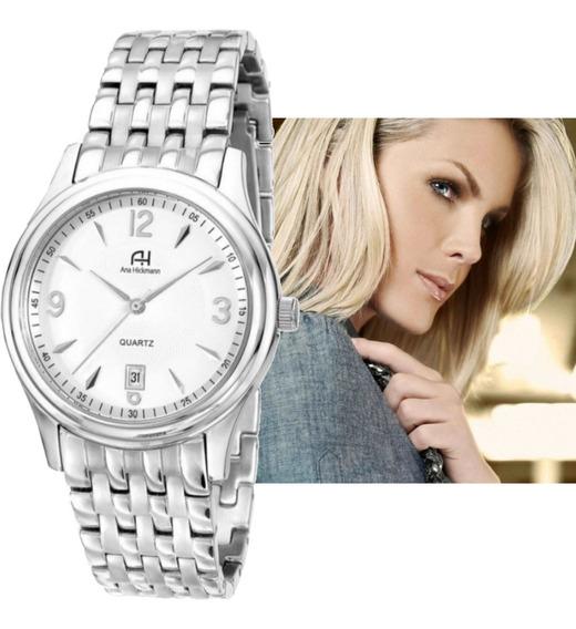 Relógio Ana Hickmann Original Prateado Aço Ah28508q