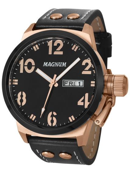 Relógio Magnum Ma32783p Calendario Pulseira Couro