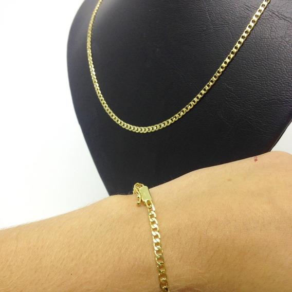 Cordão Corrente C/ 80cm + Pulseira Grumet Banhado A Ouro 18k E Fecho De Gaveta - Lindo Conjunto