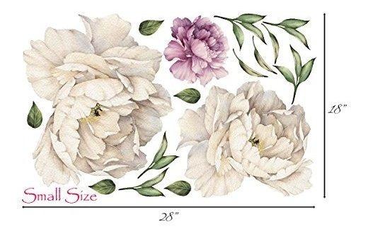 Ramo De Flores De Peonia Vintage De Pared Calcomania Despega