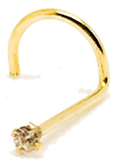 Piercing De Nariz Em Ouro 18k Com Zircônia 1,25mm À Vista