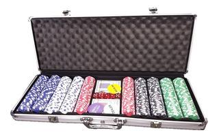 Kit Poker Star 500 Peças Com Maleta Alumínio Sem Números Top