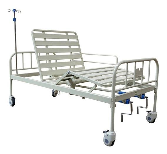 Cama Hospitalaria Manual Con Barandal Y Colchon