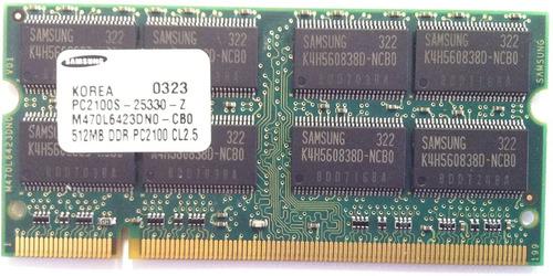 Memoria Ram 512 Mb Pc2100 Ddr 266 Mhz Sodimm  Para Laptop
