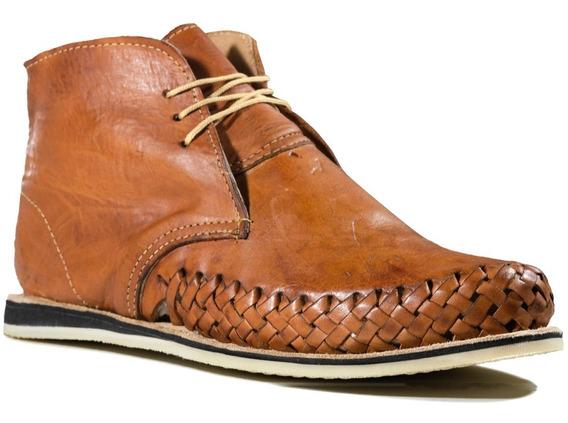 Zapato Tipo Botín Artesanal Mexicano De Cuero Para Hombre