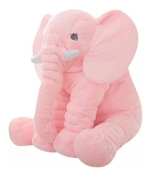 Almofada Elefante Pelúcia 60cm Travesseiro Bebê Rosa Plush