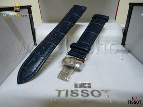 Pulseira De Couro Tissot Prc200 T055 T17 Azul 19mm Original