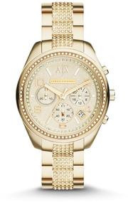Relógio Armani Exchange Ax5516 Orig Gold Swarovski