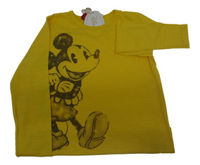 Camiseta Infantil Disney Mickey Manga Longa Original