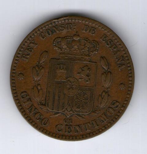 España Moneda De 1877 5 Centimos Alfonso Xii - Argentvs