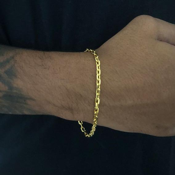 Pulseira Masculina Cadeado 3mm Banhada A Ouro 18k