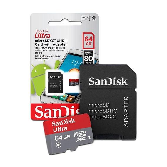 Cartão Micro Sd 64gb Ultra 80mb Classe 10 - Sandisk