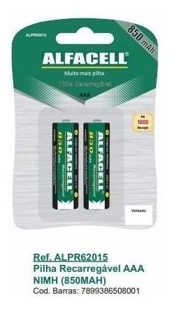 Pilha Alfacell Recarregável Palito/aaa 850mah 62015