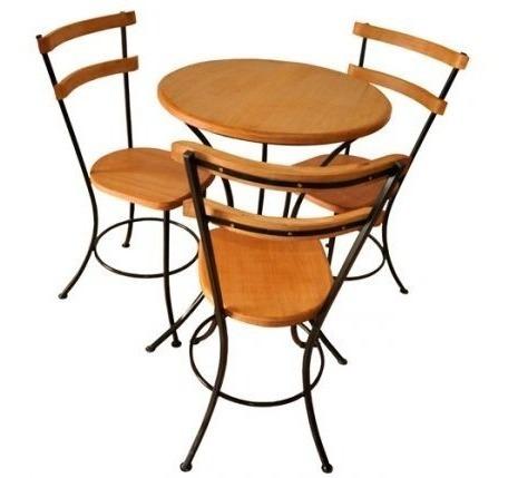 Jogo Para Cha 1 Mesa E 3 Cadeiras Ferro E Madeira
