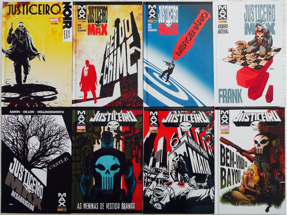 Coleção Justiceiro Marvel Max Noir Capa Dura Lote C/8 Hqs