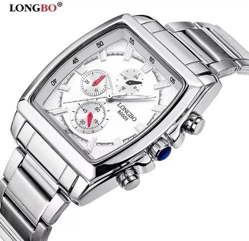 Relógio Masculino Longbo Branco Quadrado Modelo 80008