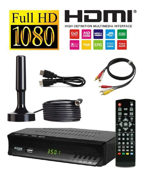 Kit Conversor Digital Full Hdtv+ Antena Interna Entrada Hdmi