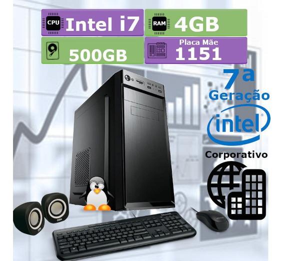 Pc Desktop 7ª Geração I7 7700 4gb Hd 500gb + Kit Multimidia