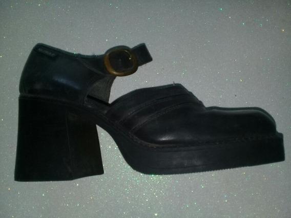 Zapatos De Cuero Plataformas