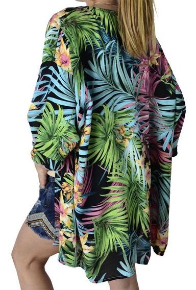 Kimono Saco Largo Estampado Mujer The Big Shop