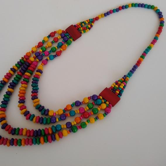 Colar De Madeira Colorido Ref: 9596