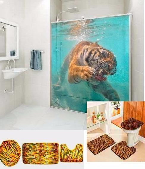 Conjunto Banheiro Tapete Kit Capa Vaso Decoração Pele Tigre