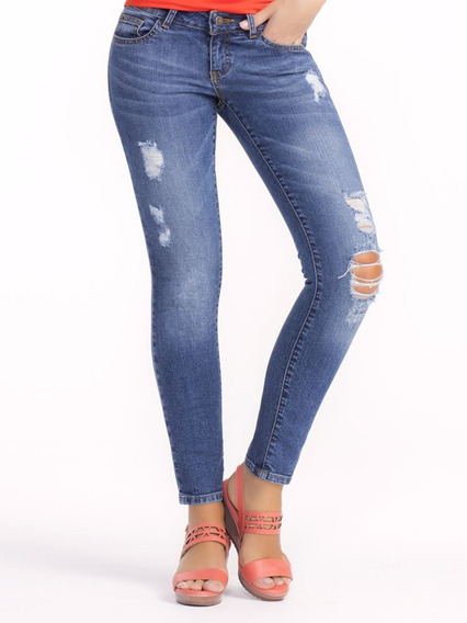 Jeans De Mezclilla C/desgaste Ilusion 45226 Skinny Oi-19