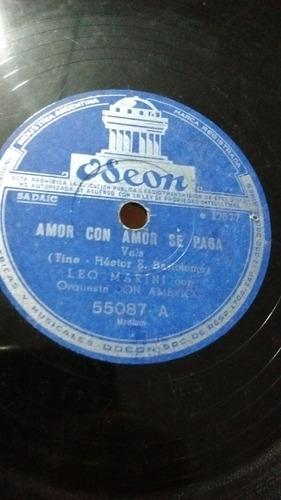 Leo Marini Con Don Americo Disco Pasta Odeon 55087 C15