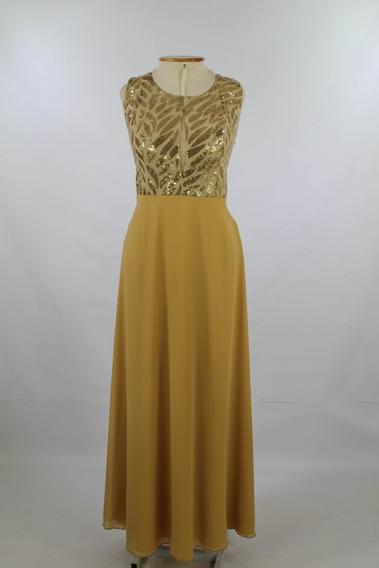 Vestido De Festa Longo Dourado Ocre 42 M