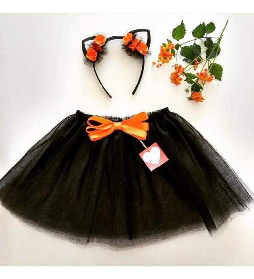 Tutú Gatito Halloween+ Vincha + Remera Personalizada A Gusto