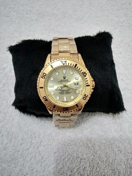 Relógio Masculino Rolex A Prova Dágua Dourado Com Dourado