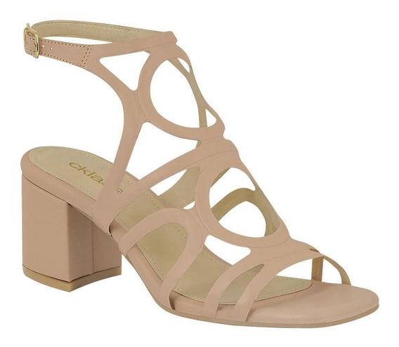 Zapato Mujer Sandalia Diseño Corte Láser Tacón Ancho Cklass