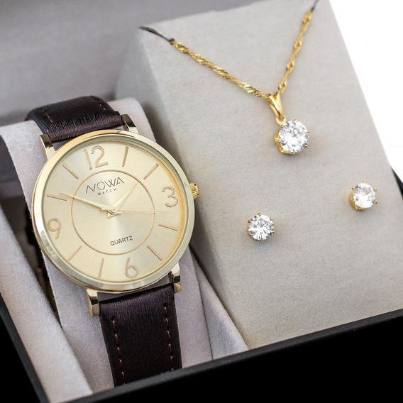 Relógio Nowa Dourado Feminino Couro Nw1413k Kit Brinde