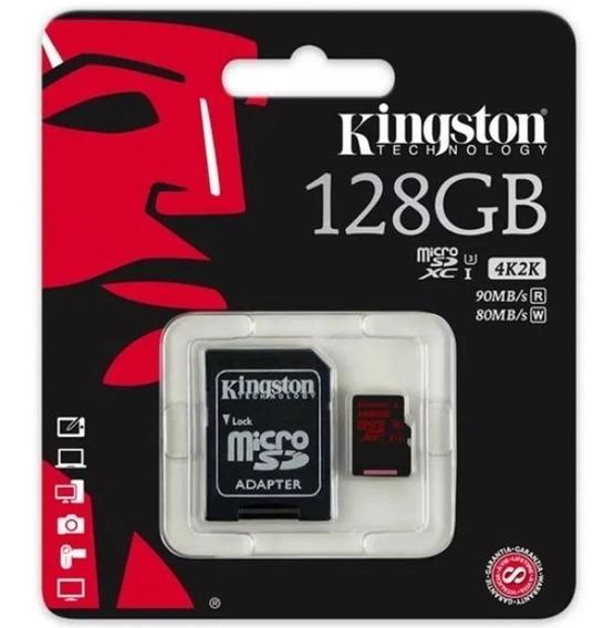 Cartão Mem Micro Sd Kingston 128gb + Adptcl 10 Linha Sdca3