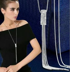 Colar Feminino Longo Comprido Pendulo Strass 93003